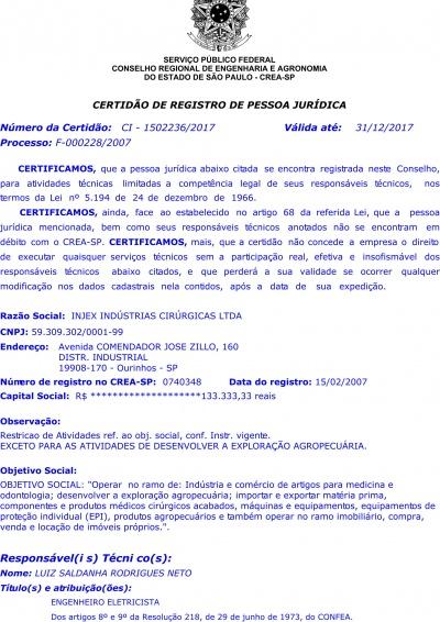 Certificate of Registration of Legal Entity - CREA 2017