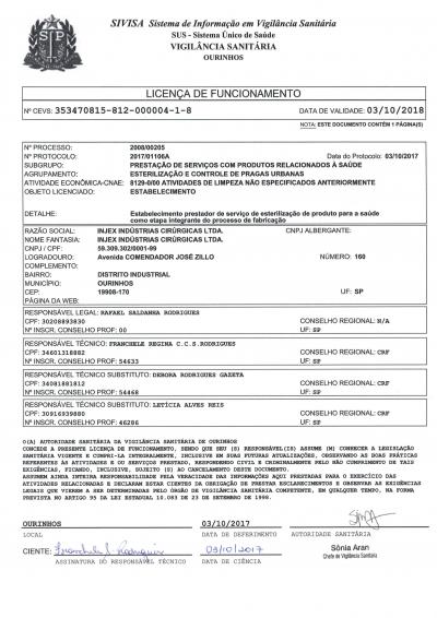 Licencia de funcionamiento (Esterilización)