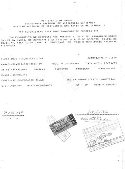 ANVISA / AFE Operation Authorization