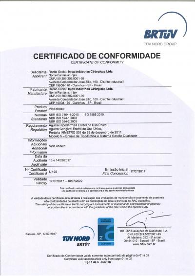 Certificado Agujas Hipodérmicas y Gingivales