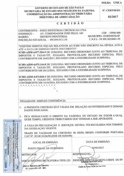 Certificado de Estadística - Validez 03/09/2017