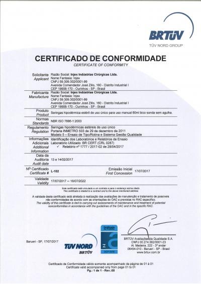 Certificado Seringa Hipodérmica 60ml Sonda