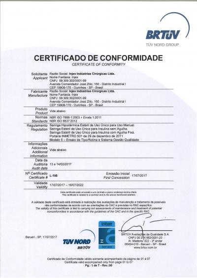 Certificado Jeringas Hipodérmicas