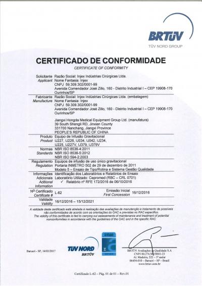 Certificado de conformidad Equipo Jiangxi