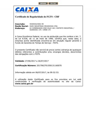 Certificado FGTS 26/07/2017