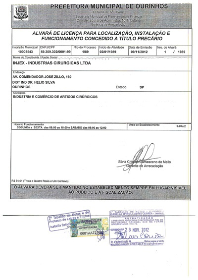 Municipal Operation Permit