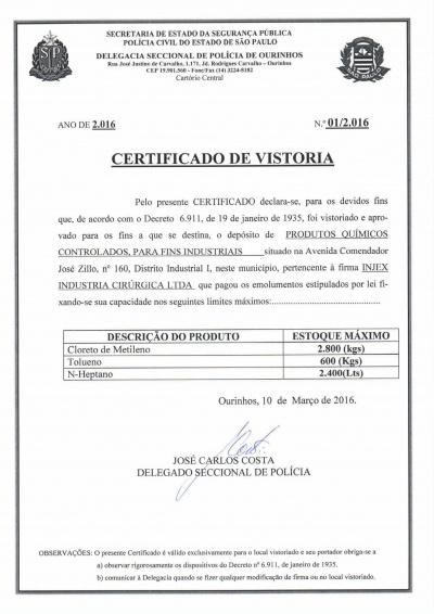 Policía Civil - Certificado de Vistoria