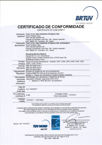 Certificate of conformity Shandong Team