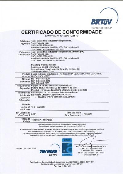 Certificado de conformidad Equipo Shandong